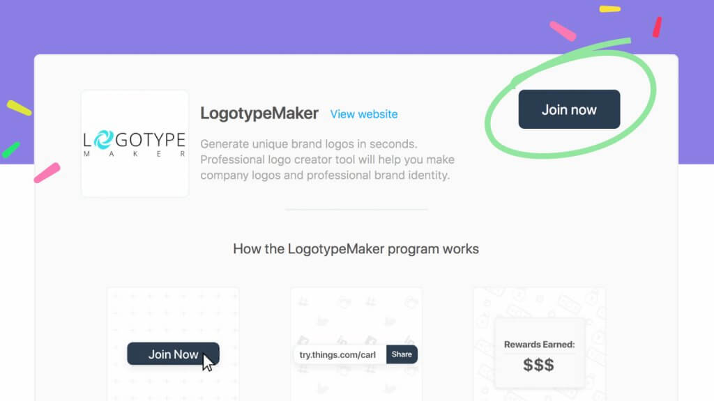 How to join LogotypeMaker's affiliate program