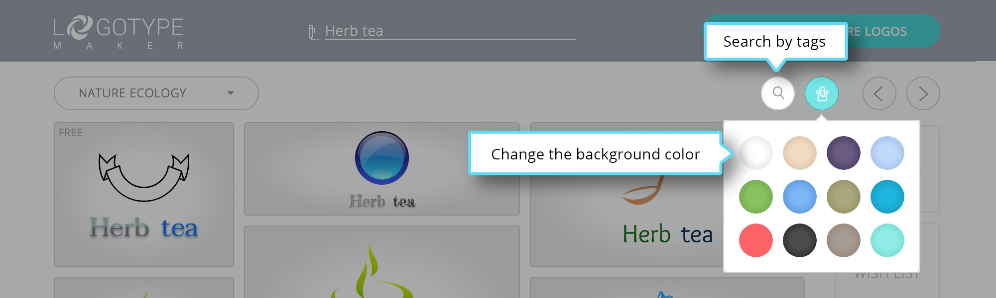 How to create a unique logo logotypemaker in the top menu there is the search box and a ready gradient color palette for the background voltagebd Image collections